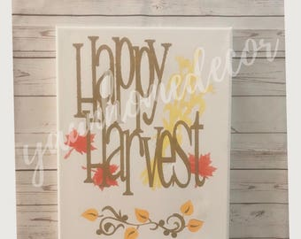 Happy harvest fall canvas