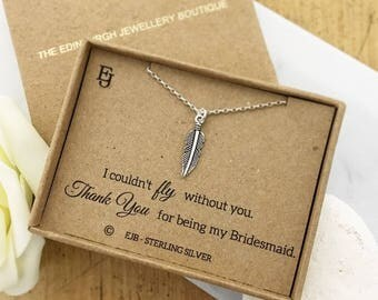 Bridesmaid Sterling Silver Feather Pendant