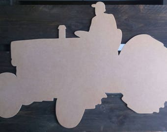 Tractor silhouette wood scalloped paint medium