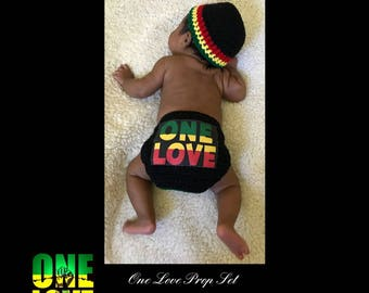 Infant Boys/Girls' One Love Prop Set: Infant Hat & Diaper Cover