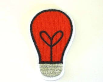 Red Filament Bulb Lamp Edison Screw Iron on or Sew on Patch - H558
