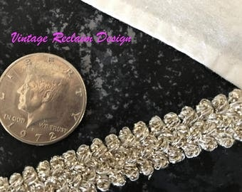 "Wholesale Lot—4 yards (12 ft) Vintage Elegant Metallic Trim Ribbon 5/8"" Wide Fancy Silver—Old Store Stock"