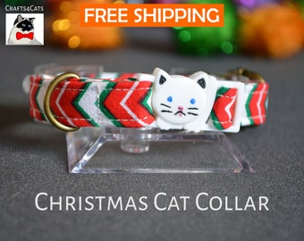 Christmas cat collar 'Christmas lollipop' cat collars with jingle bells - breakaway cat collar - luxury cat collar