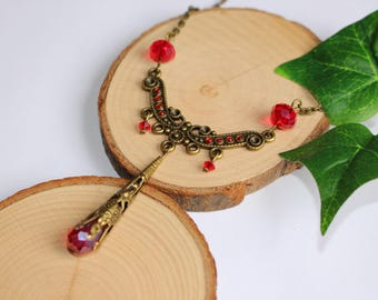 """Necklace bronze beads engraving red """"Luna"""""""