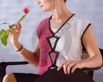 1980s Crocheted Pullover with Cap Sleeves and V-Neckline Size 10-20 Instant Download PDF 3 pages