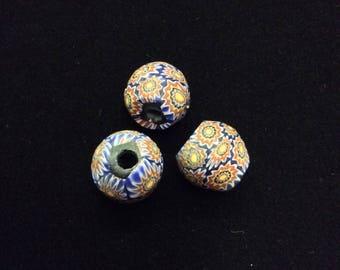3 Round Millefiori Daisy Beads