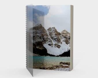 Spiral Bound Dot Grid Mountain Journal Notebook, Bullet Journaling, Lined Graph Paper Sketchbook, Rocky Mountains Banff Alberta