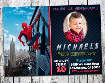 Spiderman Homecoming invitation, SpiderMan Invitation, Spiderman Party, Spiderman Birthday