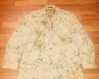 Star studded blazer with floral decor