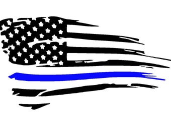 Tattered American Thin Blue Line Vinyl Decal | Back the Blue | Police Support | Yeti Cup Decal | Car Window Sticker | Laptop |