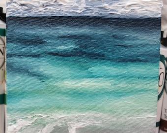 Decorative Tropical Beach Seascape Original Oil Painting// Original Art// 4x6 inches Oil on Canvas Panel