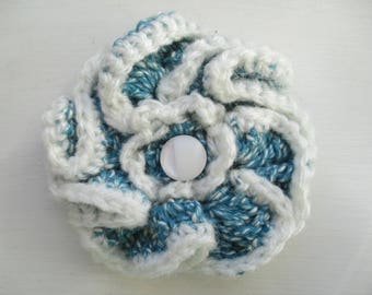 Blue and white crochet cotton flower brooch