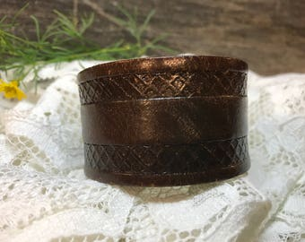 Upcycled Distressed Brown Leather Cuff with Tooled Design