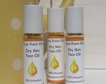 Dry skin face oil, Irritated itchy skin oil. Cell plumping facial. Vitamin rich oil. Pulse point oils re-hydrating skincare treatment oil.