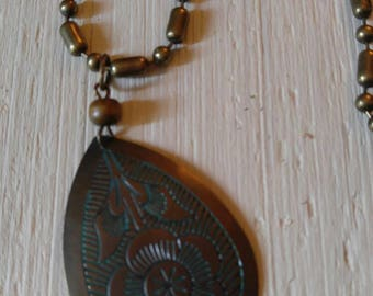 Boho brass look necklace/pendant necklace/gift for her