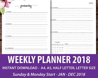 Dated Week on Two Pages, 2018 Planner Weekly, 2018 Planner Inserts, 2018 Weekly Planner, 2018 Agenda, A4 A5 Letter Size Half Letter