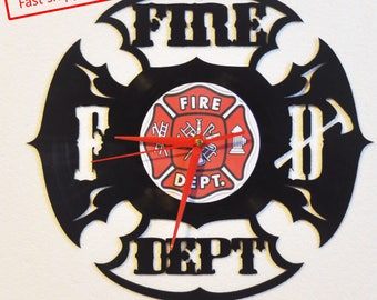 Fire Department themed Vinyl Album Record Clock made in the > USA < with FREE Shipping!