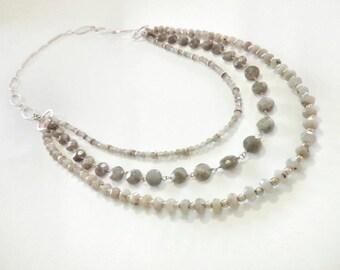 Three-wire labradorite necklace