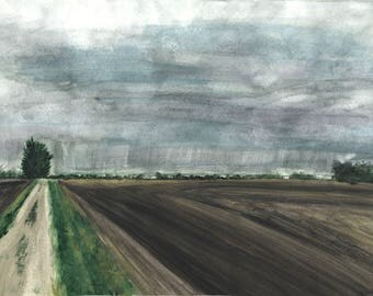 Casselton Fields - Print of Original Watercolor Painting