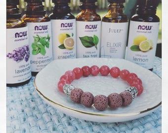 Aromatherapy Essential Oil Natural Lava Stone Diffuser Bracelet Pink Quartzite & Silver