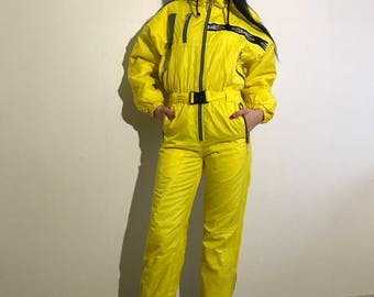Vintage 80s 90s Yellow One Piece Ski Suit Yellow Ski Suit Yellow Snowboarding Yellow Snowsuit Jumpsuit Small Size