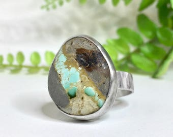Royston Turquoise Ring, Sterling Silver Ring, Size 7 1/2 Ring, Turquoise Ring, Silversmith Ring, Handmade Ring, Cabochon Ring, Ready to Ship