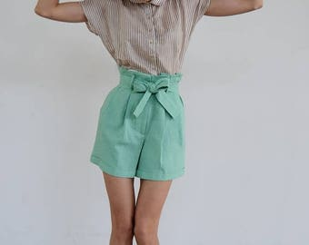 30% OFF Paper Bag Shorts / Mint Shorts / High Waisted Shorts / Summer Shorts / Linen Shorts/ High waisted shorts/ Pleated Short