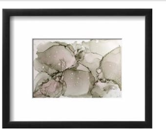 Soft Grey Abstract  alcohol ink on yupo paper