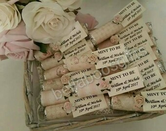 Mint to Be wedding favours, personalised wedding favours, wedding day, wedding guests, vintage style, shabby chic, party favours, 50 FAVOURS