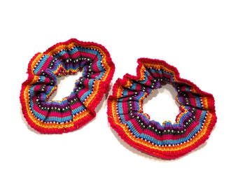 VINTAGE: 1980's - 2 Guatemalan Woven Scrunchies - Retro Hair Scrunchies - Boho - New Old Stock - SKU 21-OS-00009067