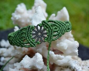 Macrium bracelet with flower--green-ornaments-heart-macrame-hippie-boho-unique