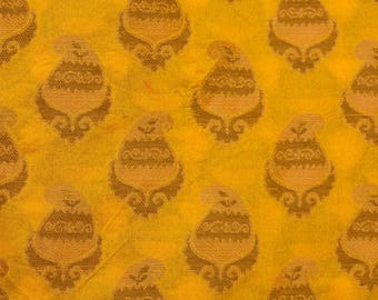 Half Yard of Yellow and Brown paisley Pattern Brocade Silk Fabric by the yard