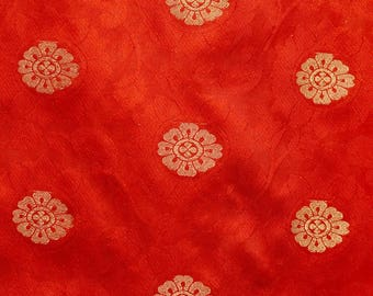 Half Yard of Ruby Red and Golden Circular Flower Brocade Silk Fabric by the yard