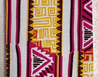 Pink and Yellow Geometric African Wax Print Notebooks (Plain and Lined)