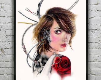 Winona Ryder Cyborg- A4 Art Prints