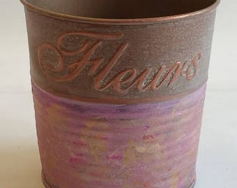 """Small Metal Planter """"PETITES FLEURS"""" from SUMMER 2017 collection"""
