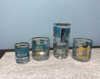Mid Century Turquoise and Gold Southern Comfort Libbey Steam Boat Paddle Wheel Glasses - Set of 4