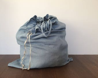 Gray Laundry Bag, Linen Laundry Bag, Natural Laundry Bag, Washable Laundry Bag