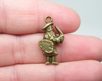 8 Bronze Painter at work Charms. B-018