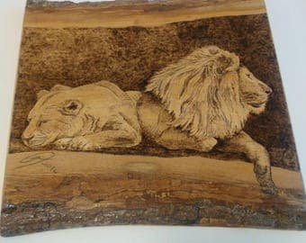 Wood burning art, pyrography, lion painting, gift for him, natural gift, handmade wood art, pyrography art, painting on wood, original art