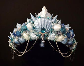 Handmade Mermaid Shell Crown Blue Festival Headpiece Custom