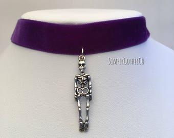ONE OFF- Gothic Skeleton Purple Velvet Choker