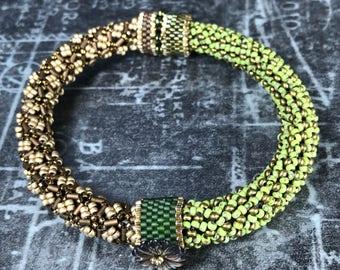 Green Japanese Bangle Bracelet