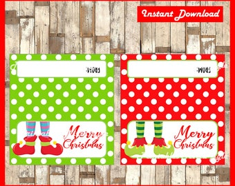 Elf Feet Christmas Treat Bag Toppers - Gift Tag - Printable - Snack Bag - DIY - Instant Download