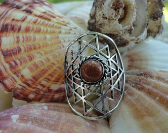 ring sunshine Sunstone synthetic, plated silver, size 61