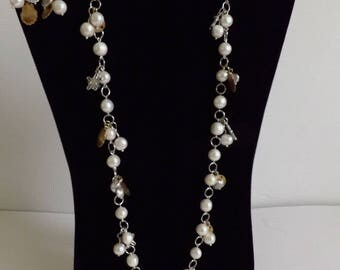 Genuine freshwater pearl necklace and earrings set