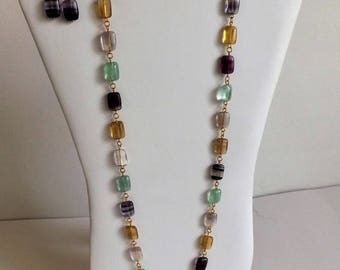 Rainbow fluorite necklace and earrings set