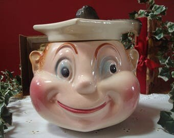 "Vintage ""For Smart Cookies"" Graduate Head Ceramic Cookie Jar, by Cardinal USA, ca. 1950's"