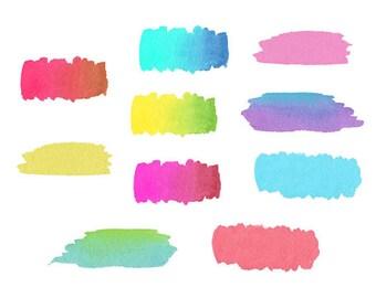 Colorful Watercolor Paint Strokes, brush strokes, Paint clip art