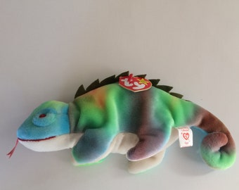 TY Beanie Baby Iggy the Iguana Beanie Baby Original MWT Date of Birth August 12, 1997